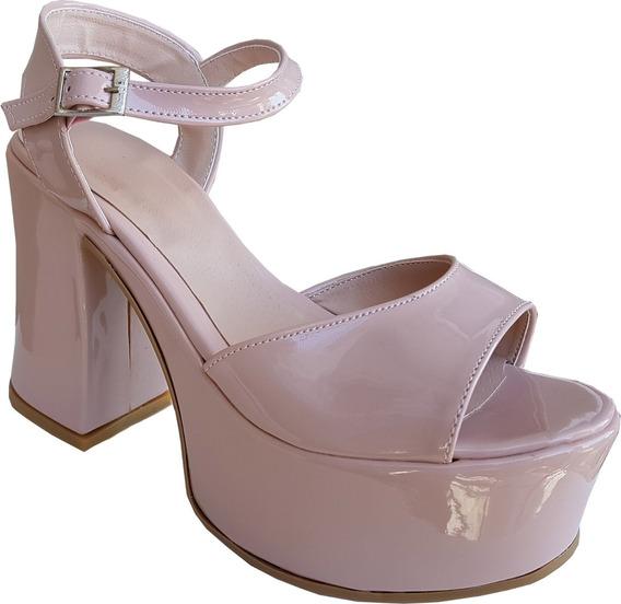 Sandalias De Dama Altas Con Plataforma, Modelo Acharolado