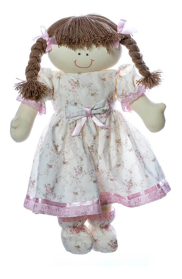 Boneca Pano Artesanal Berço Menina Rosa Bebê Infantil Nene