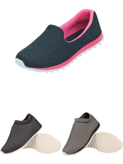 Kit 03 Tenis Feminino Calce Facil Slip On Confort Lançamento