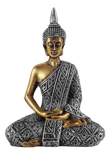 Buda Hindu Tailandês Tibetano Sidarta Resina Prata C/ Ouro