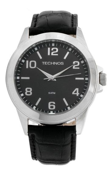 Relógio Masculino Technos Couro Preto Fundo Preto 2035mdg/op