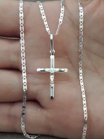 Corrente Piastrine 60cm + Crucifixo Cristo Prata 925 +brinde