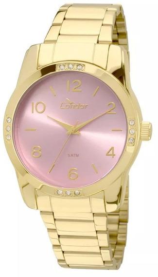 Relógio Feminino Condor Aço Original Dourado C/ N F + Garant