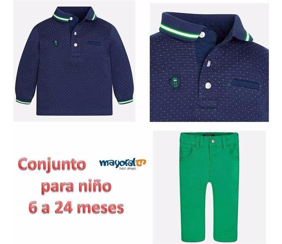 Conjunto Playera Polo Y Pantalón 6 Meses Mayoral 2115 C