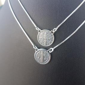 Escapulario Sao Bento Veneziana 70cm Prata 925 R 5086