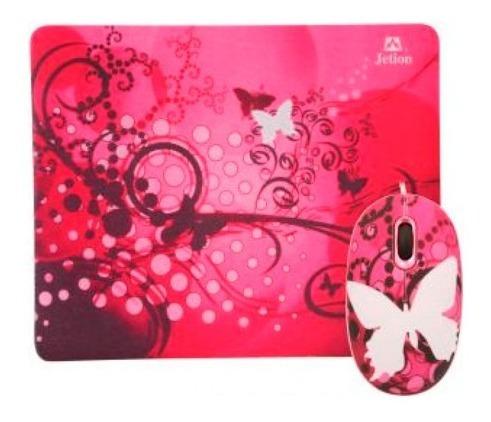 Combo Mouse+pad Jetion -mariposa Rosa