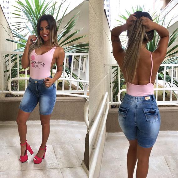 Bermuda Preta Shorts Feminino C/ Lycra Estilo Pit Bull Moda