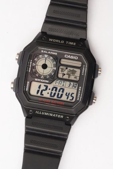 Relógio Casio Word Time Iluiluminator W 100m 10 Year Battery