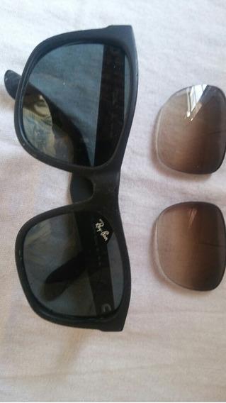 Óculos De Sol Ray Ban Original Com Estojo Em Couro Usado .