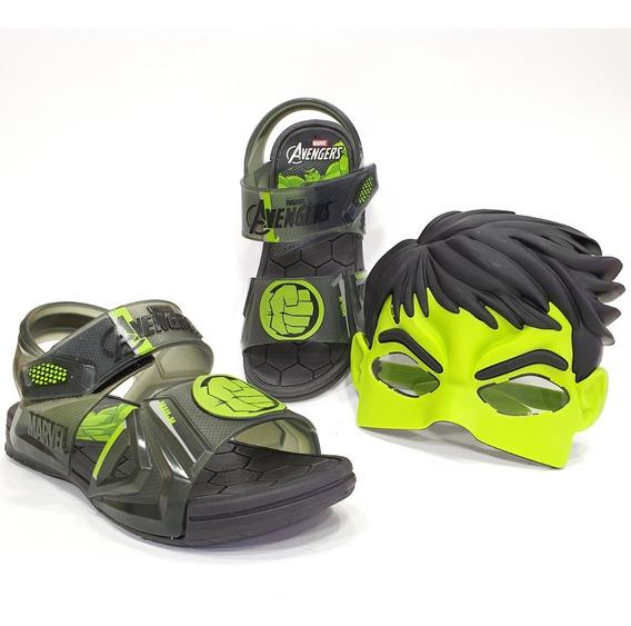Sandália Papete Infantil Grendene Hulk + Máscara Brinde