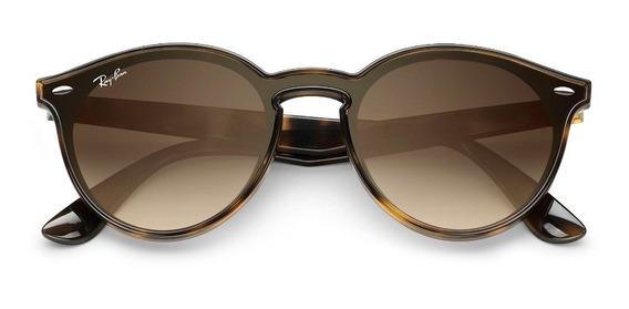 Óculos De Sol Ray Ban Blaze Round Rb4380n Marrom Degradê Original