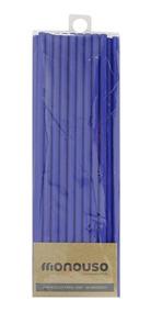 20 Canudos De Papel Biodegradável Azul 6mm Atacado