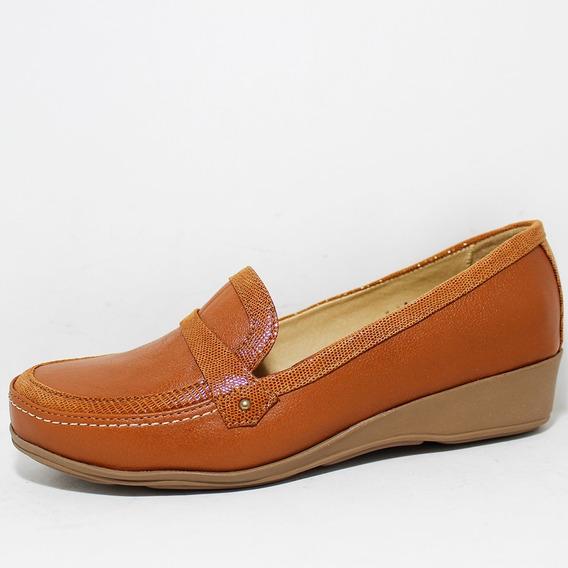 Zapato Dama Capricho Brandy Casual Para Pie Amplio Cómodo A
