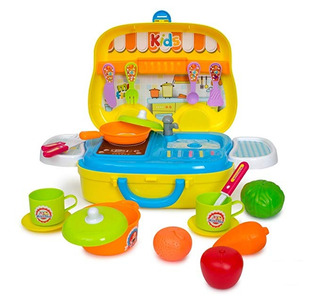 Portable Cocina Juguete Set + Tenedor Cuchillo Cuchara Pan B