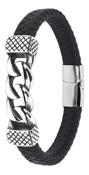 Pulseira Bracelete Aço + Couro Corrente Fecho Imã Promoção