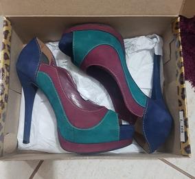 3054aa0242 Azul Peep Toe Via Marte Roxo Verde Feminino - Sapatos no Mercado ...