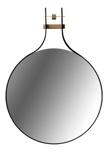 Espejo De Aluminio Y Madera, 50 Cm De Diametro