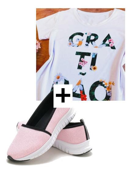 Tenis Feminino + Camiseta T-shirt Kit