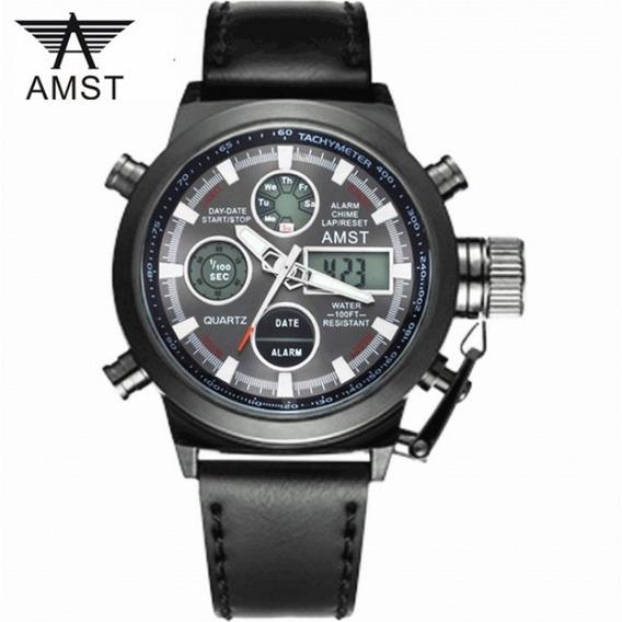 Relógio De Pulso Original Masculino Amst Black Promoção Top