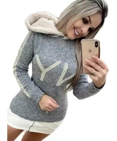 Blusa De Frio Moletinho Ny Top Tricot Feminina Touca Capuz