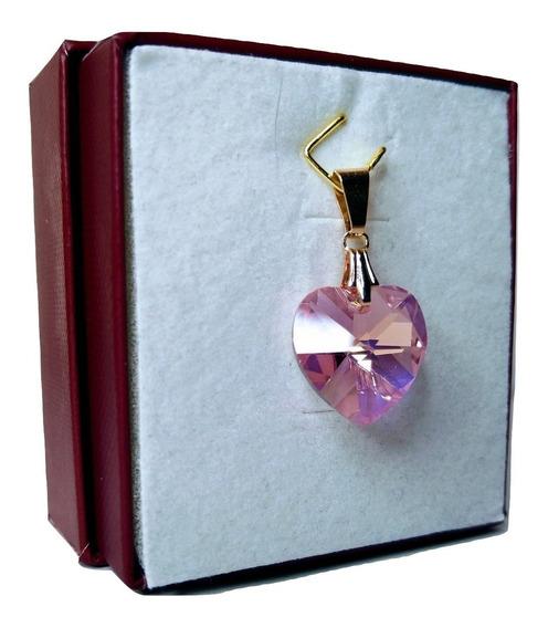 Pingente Cristal Swarovski Rose Ab 1,4 Cm Folh.a Ouro