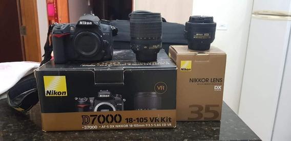 Nikon D7000+18-105mm+35mm 1.8g+flash Macro+case +2sd 16giga