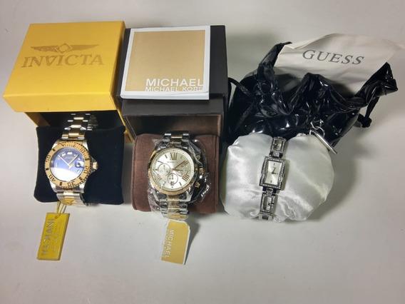 Combo Relógios Originais - Invicta/ Michael Kors/ Guess