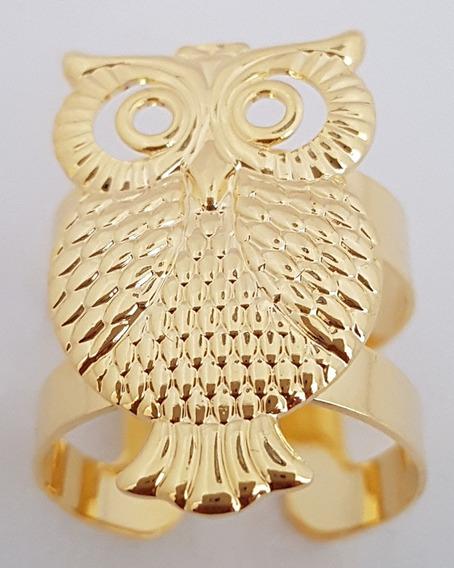 Anel Coruja Banhado Com 7 Camadas De Ouro 18k. + Brincos