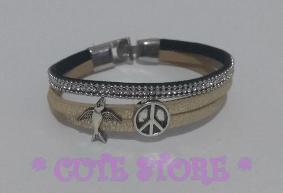 Pulseira Bracelete Couro Dourada Prateada Strass Paz E Amor