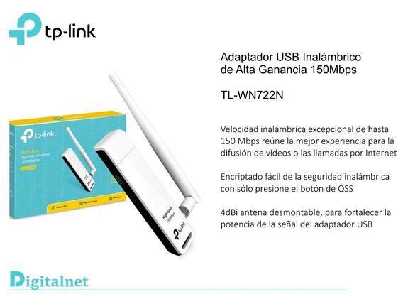 Placa De Red Tp-link Tl-wn722n 150mb Wifi Usb