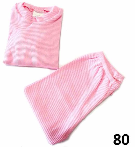 Conjunto Canelado Criança Infantil Calça + Blusa 1 2 3 4 Ano