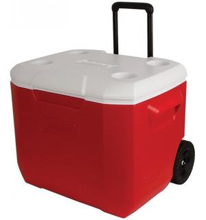 Caixa Térmica Coleman 60 Qt 56,7 Litros Com Rodas Vermelho