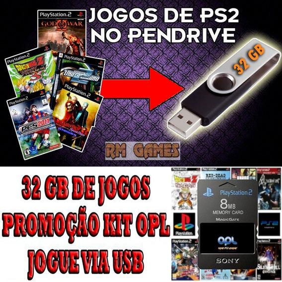 Kit Memorycard Ps2 + Pendrive Jogos Atari Mario Snes Ps1 Ps2