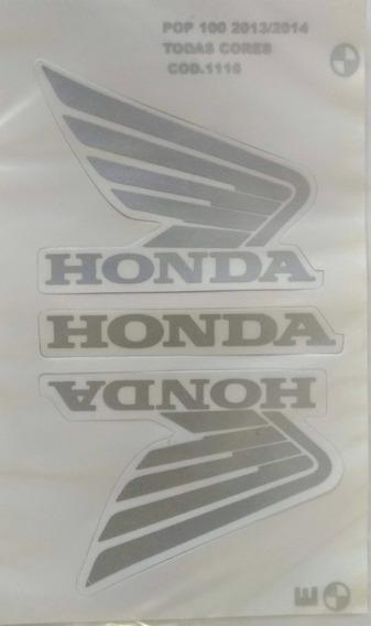 Kit Jogo Faixa Adesivo Honda Pop 100 2013/14 Todas
