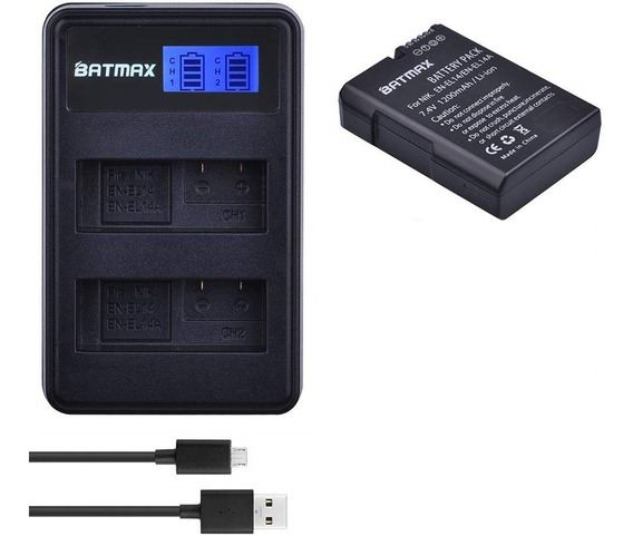 1 Bateria En-el14 + Carregador Duplo Nikon D5600 D5200