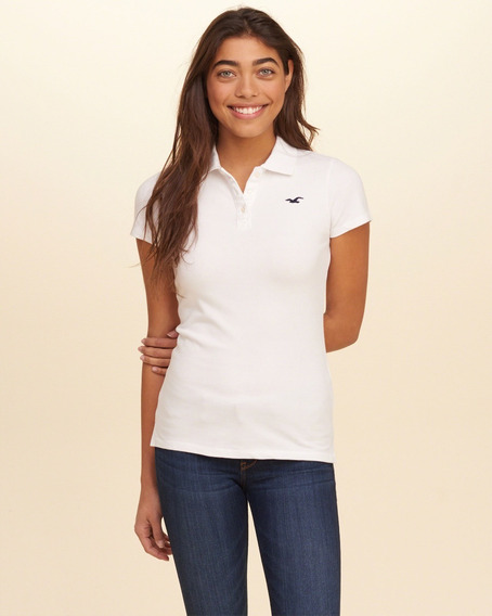 Camiseta Polo Feminina Hollister Branca Original Importada