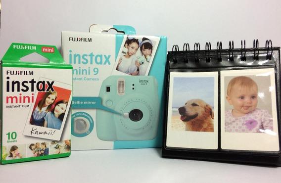 Kit Câmera Instax Mini 9 Azul Acqua + Filme + Porta Fotos