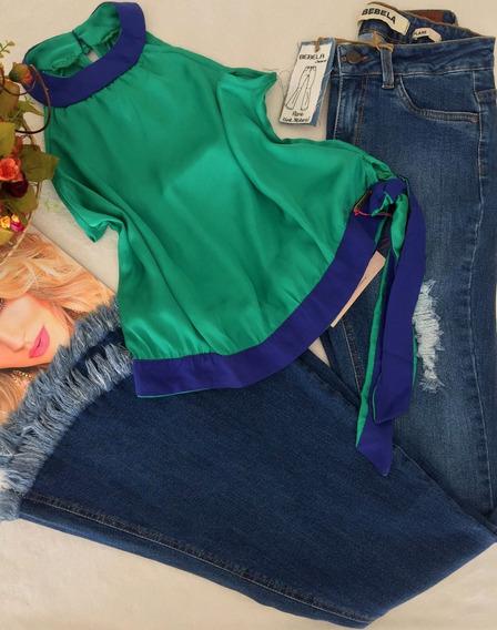 Blusa Acetinada Verde E Azul Tam M
