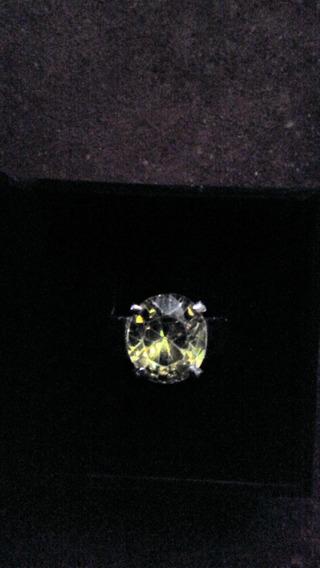 Anel De Prata 925 Com Pedra De Diamante De Laboratório 14ct