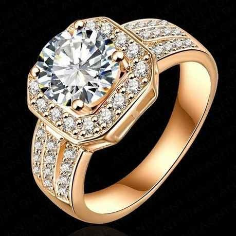 Anel Feminino Noivado Banhado A Ouro 18 K Luxo Zircônia