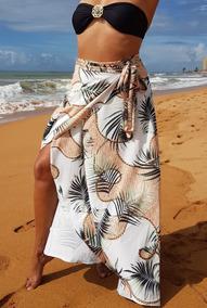 Saída De Praia, Saia Pareô Luxo, Milla Tropical, Moda Praia