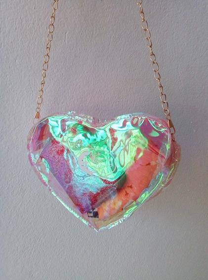 Cartera Corazon Holografica Tornasolada Transparente Rosa