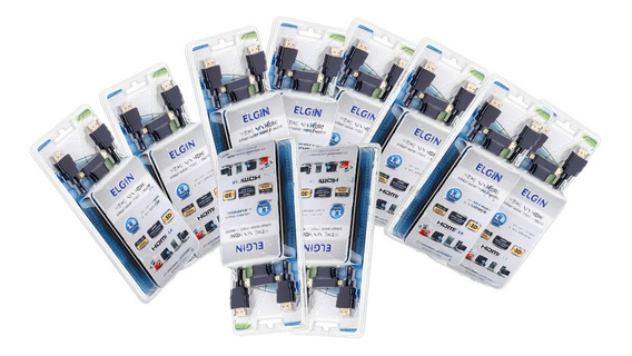 10x Cabo Hdmi Elgin Com Adaptador Mini X Micro 1.8 Mts V1.4