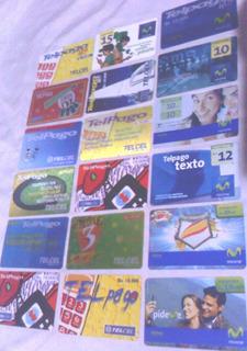 Colección 18 Tarjetas Telefónicas Telcel Movistar