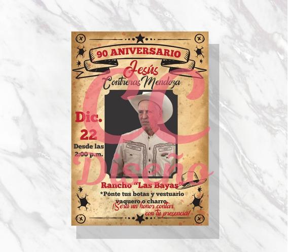 Invitación Digital Vaquera Ranchera Niño Adulto Aniversario