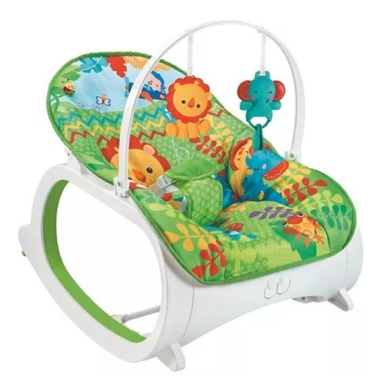 Cadeira Cadeirinha Descanso Balanço Para Bebe Musical Verde