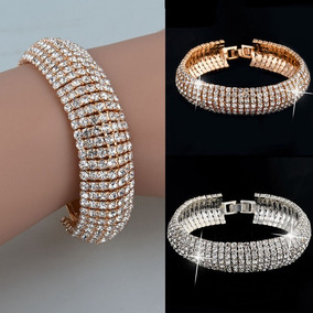 Pulseira Bracelete Folheado Ouro Cristais Zirconia Luxo