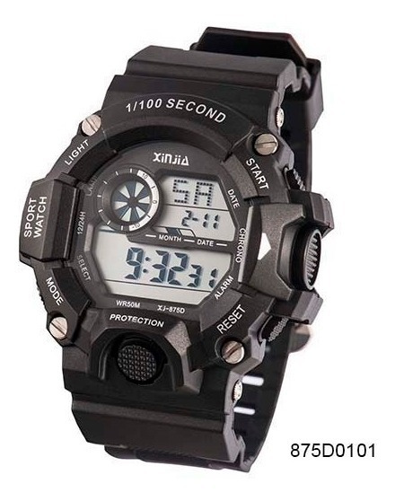 Relógio Masculino Digital Preto Ou Camuflado Data Prova D`água Xj-875dm Original + Caixa