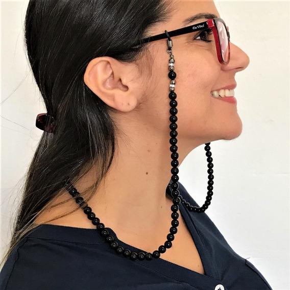 Correntinha Óculos Corda Resina Cor Bronze Pele Preto Moda