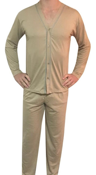 Pijama Masculino Inverno Malha Formosa Com Botão 42 A 48
